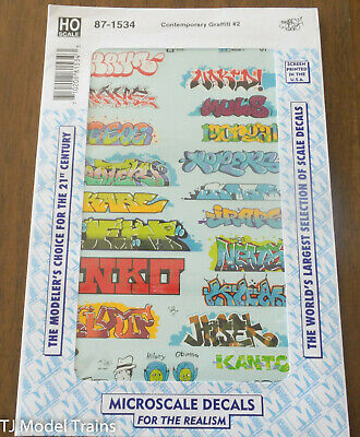 Microscale Decal HO #87-1535 Contemporary Graffiti #3 Water Slide Decals