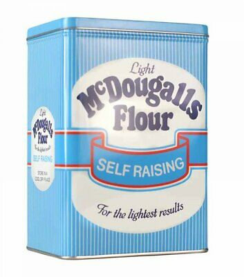 Retro McDOUGALLS FLOUR STORAGE TIN White & Blue STRIPES