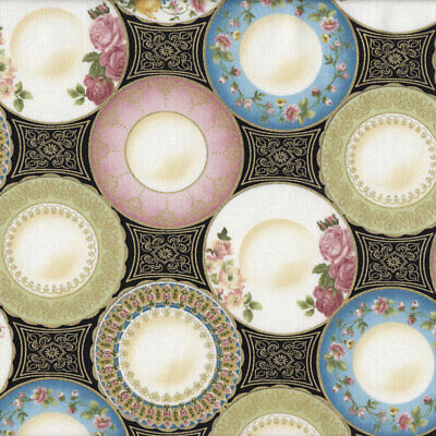 High Tea China Porcelain Plates on Black With Gold Leaf Quilt Fabric FQ or Metre