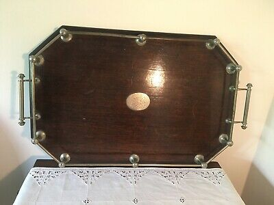 Antique Retro timber serving tray with gallery and handles