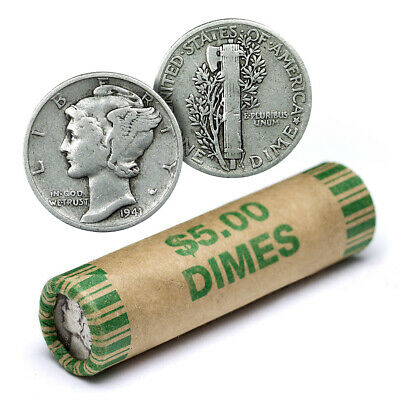 90% Silver Mercury Dime Roll - 50 Coins - 90 Percent Silver - FREE SHIP