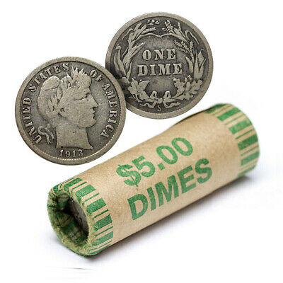 90% Silver Barber Dime Roll - 50 Coins - 90 Percent Silver - FREE SHIP
