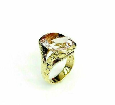 12.99 Carats Oval Morganite Split Hammered Finish Ring 18K Yellow Gold