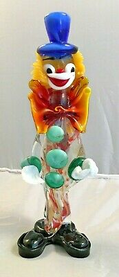 "Vintage Murano Glass Blown Multi Color Clown Figurine 3 Grn. Buttons 9.5"" Italy"