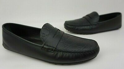 47556d634e1 Gucci Men s Black Leather GG Guccissima Driving Loafers Shoes Size 10 G    11 US