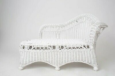 Vintage Victorian Style White Wicker Settee Childs Chaise chair Studio Prop