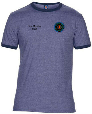 New Order Blue Monday Football Badge Quality Ringer T-Shirt - 4 Colours