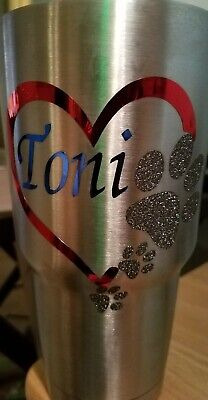 Monogram Personalized Vinyl Decal For Tumblers an Cups with heart and paw prints