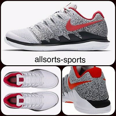 Nike Air Zoom Vapor X 10 Hc Federer | Uk 8, Uk 9 | Aa8030-046 Grey Red Black