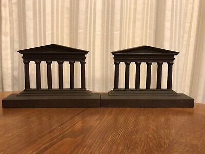 Greek Temple Bookends, cast iron by Bradley and Hubbard