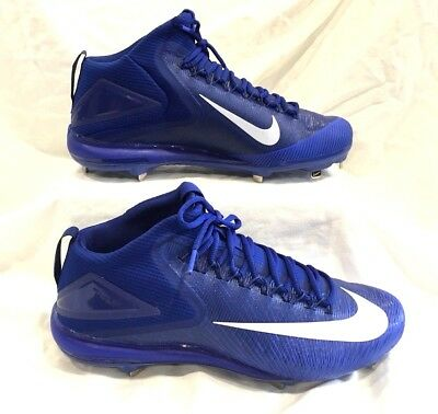 0fe4e60fcb4 New Nike Force Zoom Mike Trout 3 Mid Metal Men s Blue baseball Cleats Size  14