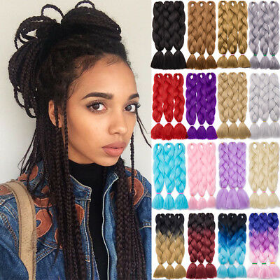 Three Tone Colored Crochet Hair Extensions Kanekalon Braids Jumbo Braiding KJ56
