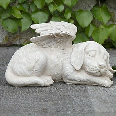 Sleeping Angel Dog with Wings Outdoor Statue Patio Garden Yard Lawn Decor