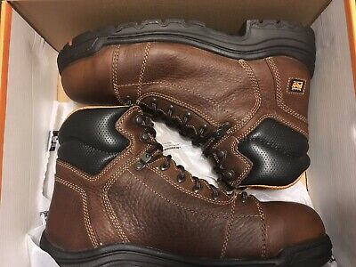 8082b3a4925 TIMBERLAND PRO 6 In TiTAN Lace to Toe DARK BROWN Boots size 10.5W men's