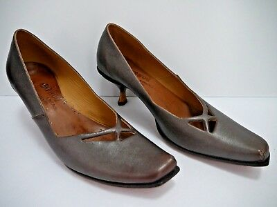 160e02c2829 CYDWOQ VINTAGE BROWN with muted silver mule kitten heel sandal 39 9 ...