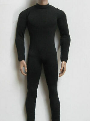 """1:6 Male Black Tight Stretch Slim Bodysuit Overall For 12"""" Figure Body Doll Toy"""