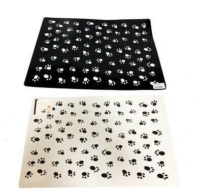 Under Bowl Pet Mat Large Size White or Black with paw print