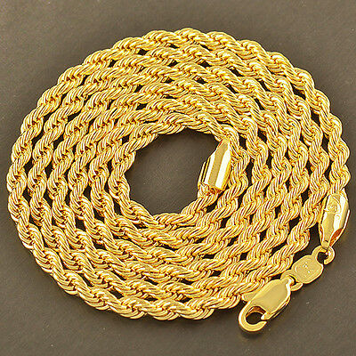 Cool 9K Yellow Gold Filled Men's Rope Chain Necklace 24 Inches/4MM free shipping