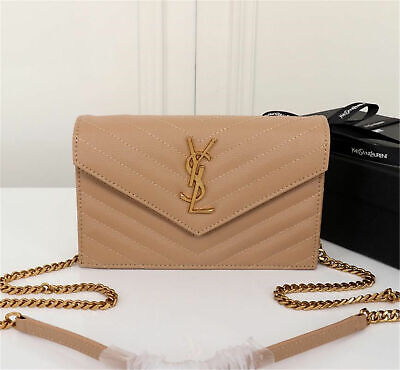 0cb94aa6b0d AUTHENTIC YSL Saint Laurent Monogram Wallet Chain Bag Shoulder Bag beige  leather
