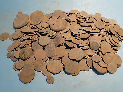 """5 """"as dug"""" Uncleaned and Unresearched Roman Bronze Coins."""