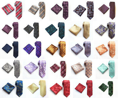Men's Floral Style Ties Pocket Square Set JACQUARD WOVEN Silk Wedding Necktie