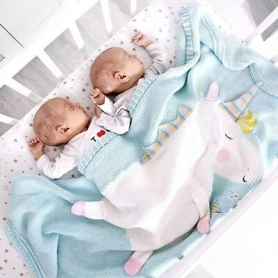 Unicorn Knitted Wool Blanket - For Babies, Toddlers, Kids
