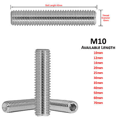 M6 x 60mm STAINLESS STEEL CUP POINT ALLEN GRUB SCREW SOCKET SCREWS