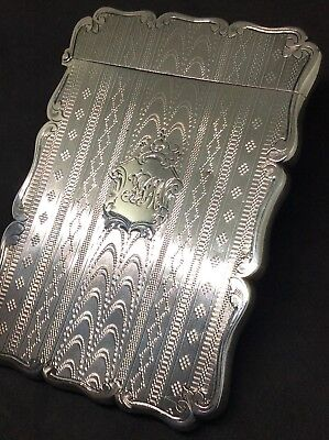 Superb Edward Smith 1863 Solid Silver Engine Turned Card Case Victorian