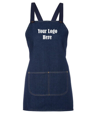 Cotton Comfort Cross Back Hospitality Denim Apron + 1 Custom Embroidery Logo New