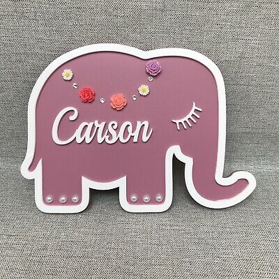 Personalised Name Plaque Door Sign Nursery New Baby Elephant Boy Girl  Childrens