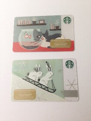 Lot of 2, STARBUCKS 2017 Holiday CAT & BUNNY Zero $ Balance Gift Cards No Value