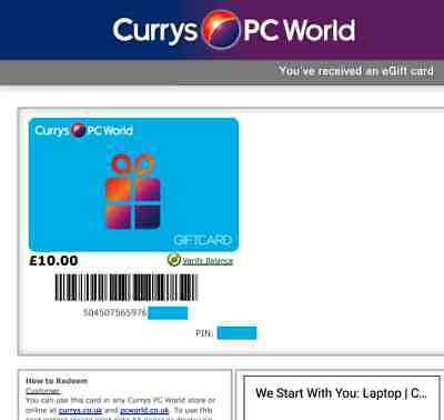 Currys PC World £10 Gift Card valid to at least Feb 2020 - as good as cash!
