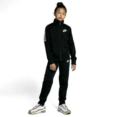 New Nike Junior Girls Sportswear Lifestyle Tracksuit Track suit Black & White