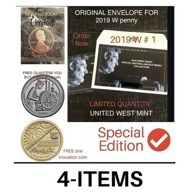 2019 W Point PROOF PENNY /Orig . Envelope and 2019 S PROOF QUARTER , *DEEP CAMEO