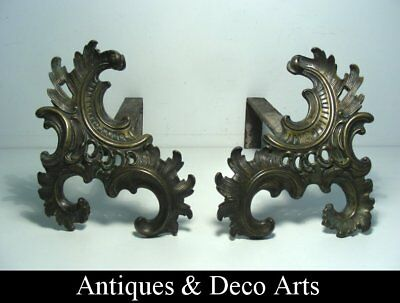 Victorian or Edwardian French Rococo Bronze Fire Dogs