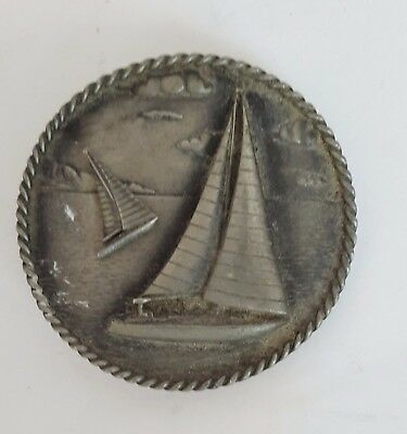 Ms. Dee Pewter Pin Nautical Relief Sailboat Trinket Brooch Medallion Sailing
