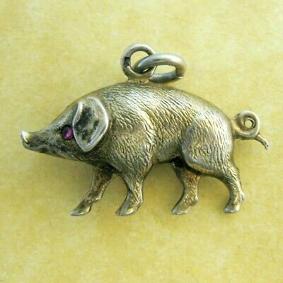 Antique French .800 Silver Puffed Lucky Pig Charm Gem Set Eye