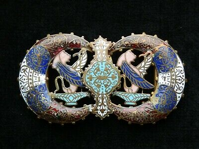 Fine Antique Vintage Enamel Cloisonné Ornate Elaborate Design Belt Buckle 1900's