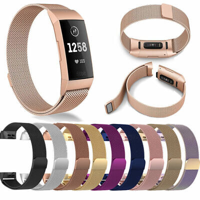 For Fitbit Charge 3 Strap Replacement Waist Band Metal Stainless Steel Magnet UK