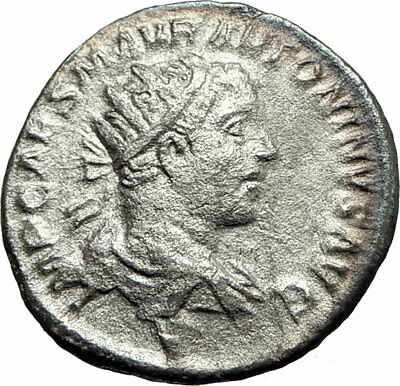 ELAGABALUS  218AD Rome Authentic Ancient Silver Roman Coin Roma Victory i76272