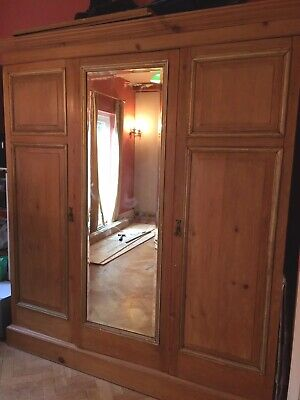 Large Victorian Pine Knockdown Armoire Wardrobe, Drawers, BakerTrays comes apart