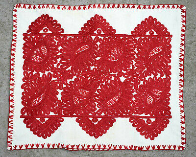 Antique Traditional Hungarian Hand Embroidered ÍRÁSOS Linen Pillow Case