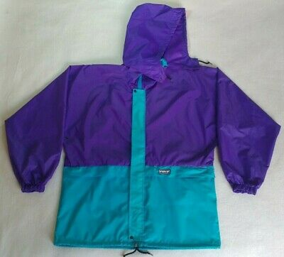 5a8019f6ecd1 Vintage 90 s K-Way Rain Jacket Nylon Windbreaker Purple Hooded Full Zip  Size L