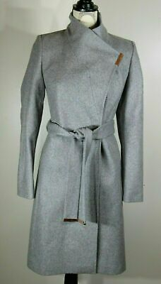 04f2c8b1b6d2 TED BAKER KHERA Wool-cashmere wrap coat, Light Grey, Ted Size 1, US ...