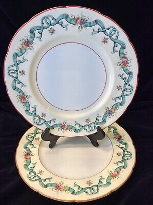 2 Coalport Dinner Plates Blue Ribbons Pattern 8851 10-1/2""
