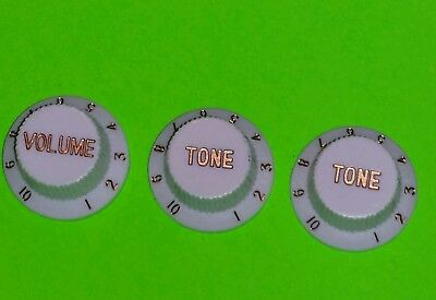 White Fender Strat/Stratocaster Replacement Guitar Knobs 1-Volume 2-Tone USA Lot