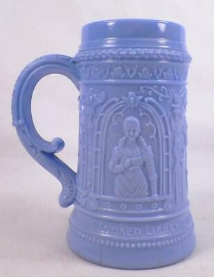 McKee Serenade Troubadour Mug Blue Opaque Glass Antique EAPG Pressed