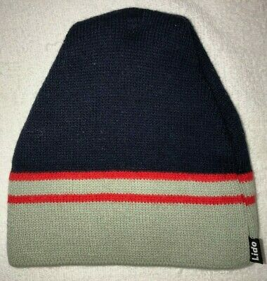 f95eeeee39a80 knit BEANIE WINTER HAT MENS one size fits most LIDO dark blue gray red  STRIPES