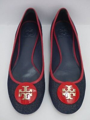 33483a36ae3 TORY BURCH Perry Reva blue denim red trim logo detail ballet flats size 9.5