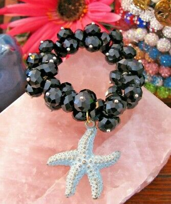 New Faceted Black Austrian Crystal Cuff Beaded Bracelet w/ Rustic Starfish Charm
